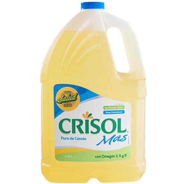 Aceite Crisol Mas Puro de Soya con Canola, 3.78 L