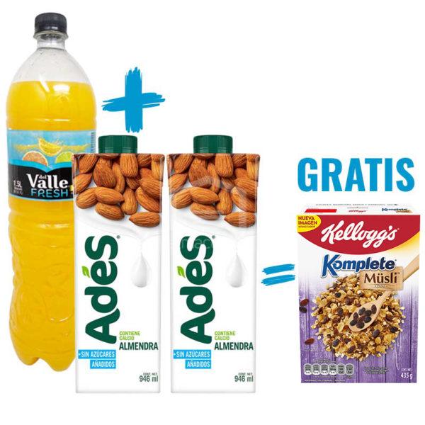 Jugo del Valle Sabor Naranja, 1.5 L + Leche de Almendra Adés sin Azúcar, 32 oz (2 uds) + Musli Komplete Kellog's Pasas, 435 g (Gratis)