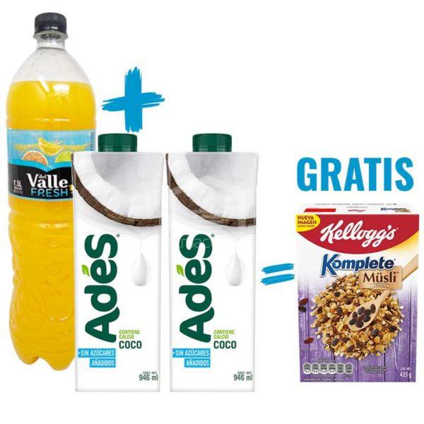 Jugo del Valle Sabor Naranja, 1.5 L + Leche de Coco Adés sin Azúcar, 32 oz (2 uds) + Musli Komplete Kellog's Pasas, 435 g (Gratis)