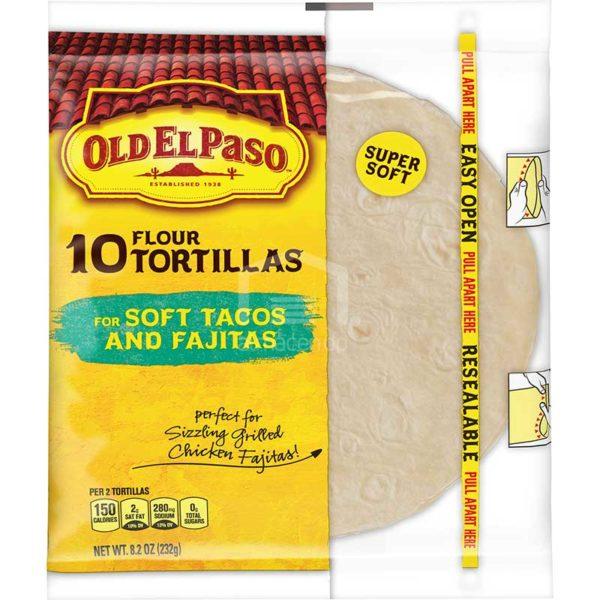 """Tortillas de Harina Old El Paso para Tacos Suaves y Fajitas 6"""", 10 uds"""