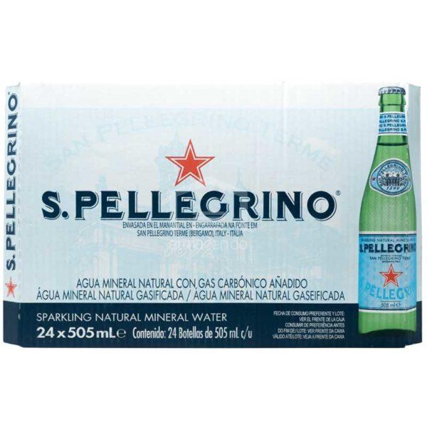 Agua Mineral Natural con Gas San Pellegrino, 505 ml Caja (24 uds)