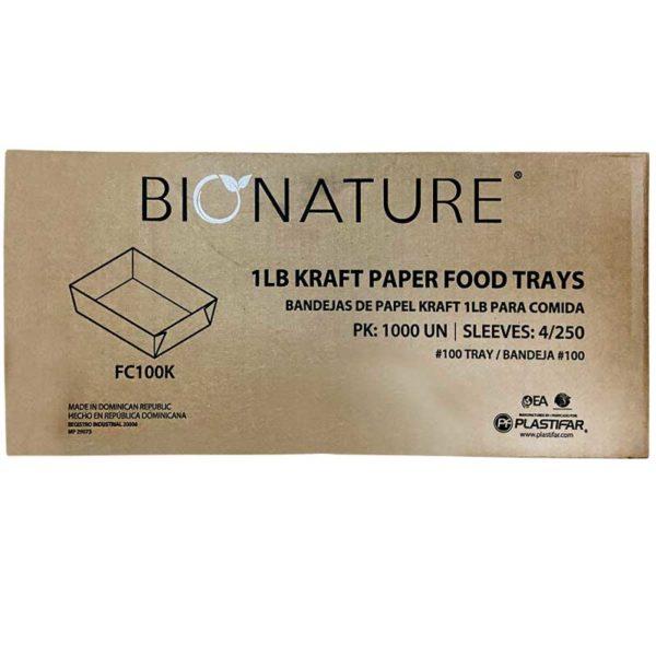 Bandeja Cartón Kraft Bionature 1 lb, Caja (4 x 250 uds)