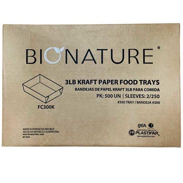 Bandeja Cartón Kraft Bionature 3 lbs, Caja (2 x 250 uds)