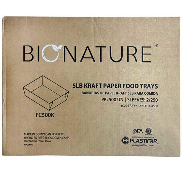 Bandeja Cartón Kraft Bionature 5 lbs, Caja (2 x 250 uds)