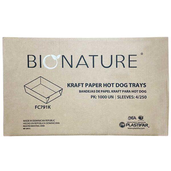 Bandeja Cartón Kraft Bionature Hot Dog, Caja (4 x 250 uds)