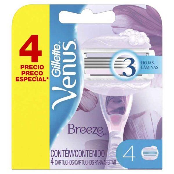 Cartuchos de Repuesto para Afeitadora Gillette Venus Breeze (4 ud)