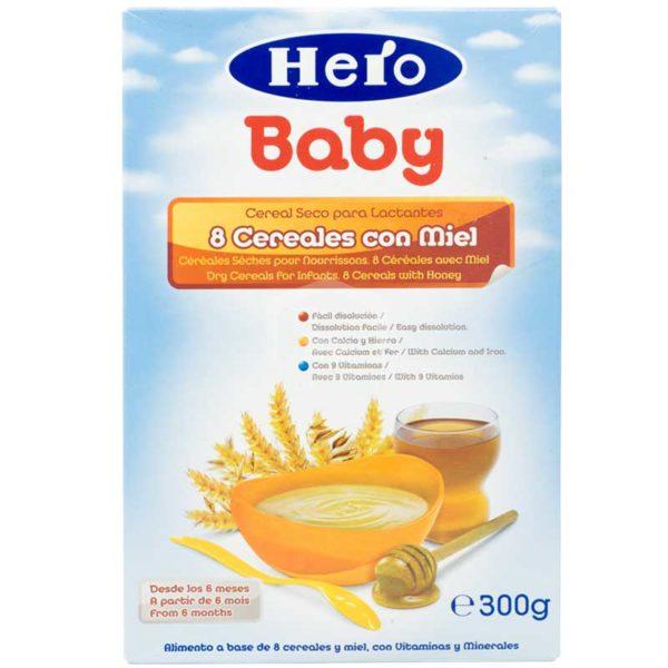 Cereal Seco Hero Baby 8 Cereales con Miel (A partir de los 6 meses), 300g