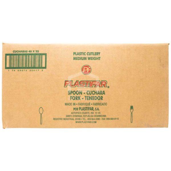 Cucharas Blancas Desechables Plásticas Plastifar, Caja (40×25 uds)