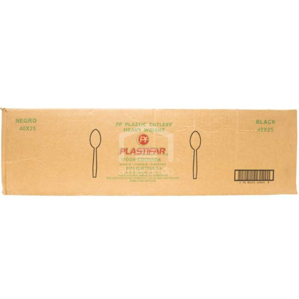 Cucharas Negras Desechables Plásticas Plastifar, Caja (40 × 25 uds)