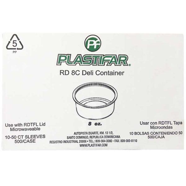 Envase PP 18070 Deli Blanco Plastifar, 8 oz Caja (500 uds)