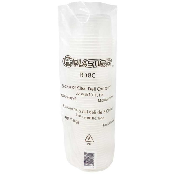 Envase PP 18020 Deli Transparente Plastifar, 8 oz (50 uds)