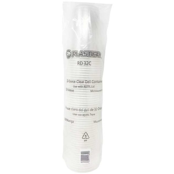 Envase PP 18032 Deli Transparente Plastifar, 32 oz (50 uds)