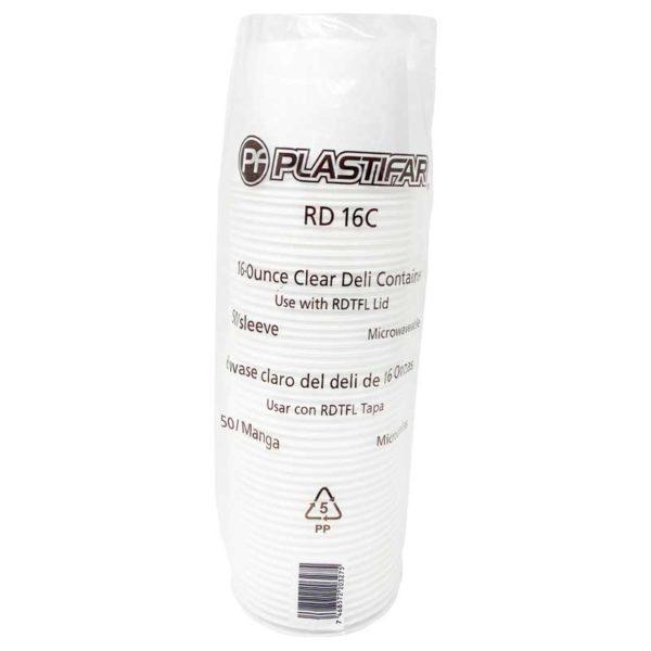 Envase PP 18071 Deli Blanco Plastifar, 16 oz (50 uds)