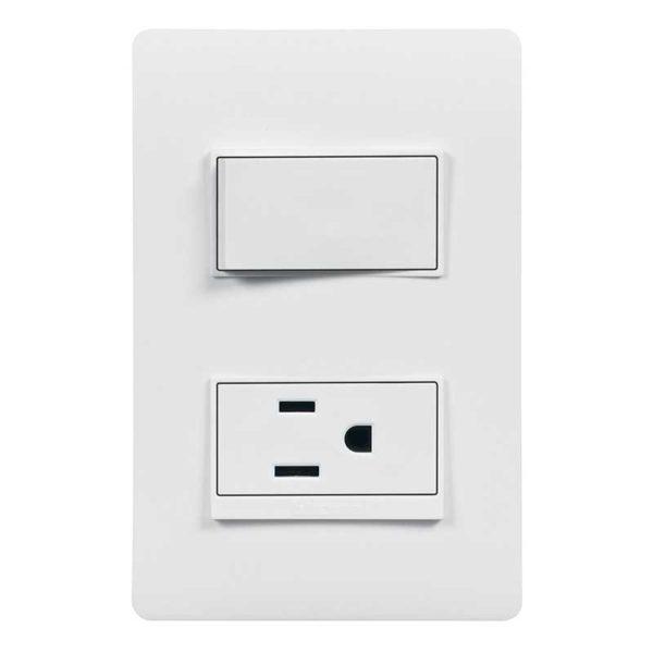 Interruptor Simple con Tomacorriente Bticino LUZICA, 15 Amp