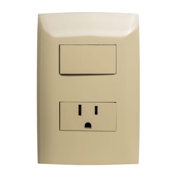 Interruptor Simple con Tomacorriente Leviton CIEN, 15 Amp