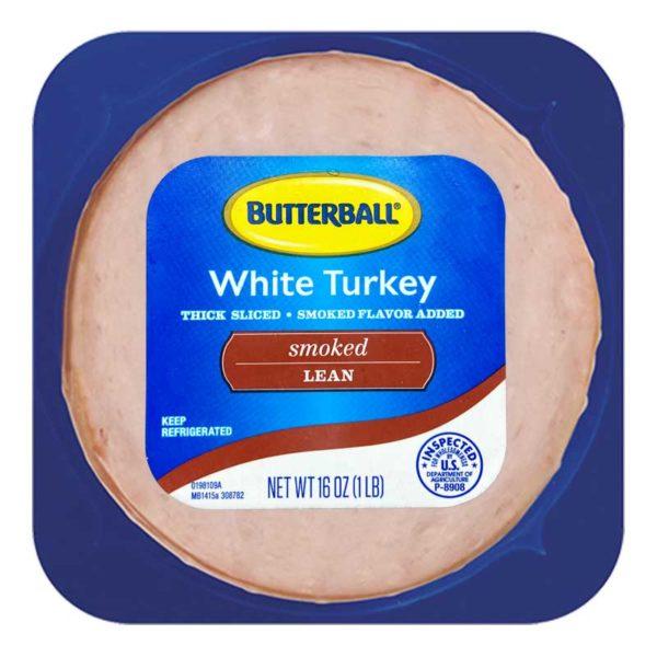 Jamón de Pavo Blanco Ahumado Butterball de Tamaño Familiar, 1 lb