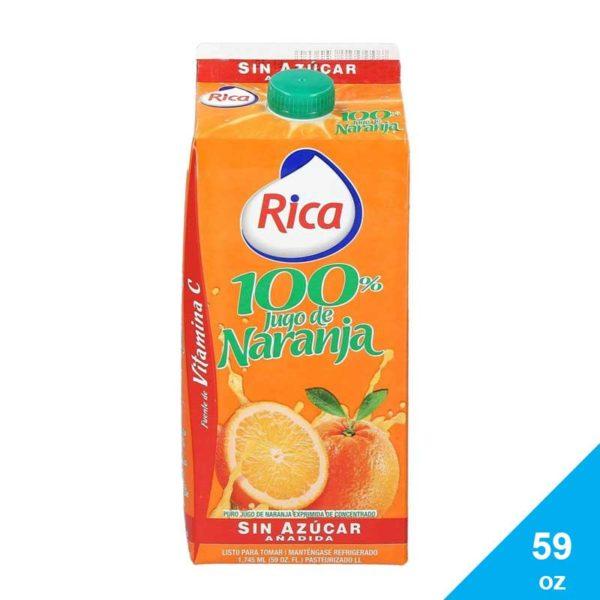 Jugo Naranja 100% Rica Sin Azúcar, 59 oz