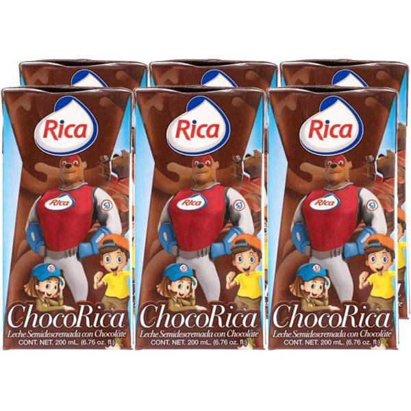 Leche Semidescremada Choco Rica, 200 ml (6 pack)
