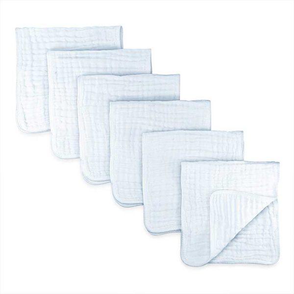 Paños para Eructos 100% Algodón Muselina Comfy Cubs Color Blanco, 6 uds