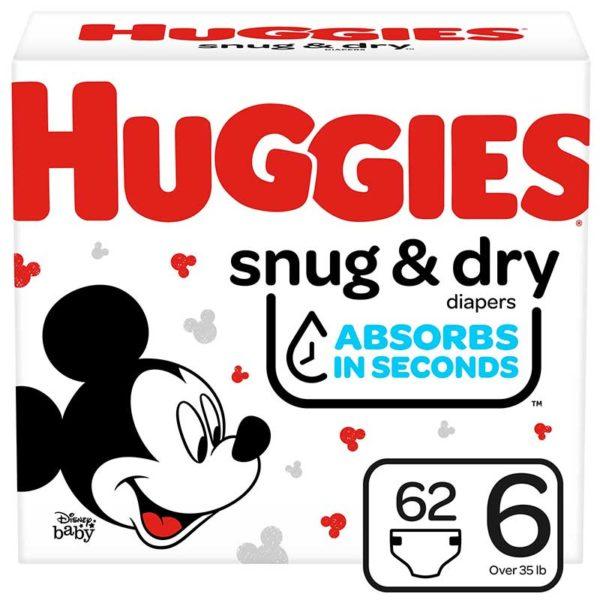 Pañales Huggies Snug & Dry No. 6, Caja (62 uds)