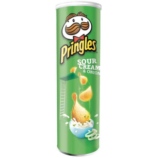 Papas Fritas Pringles Sabor a Crema y Cebolla, 124 g