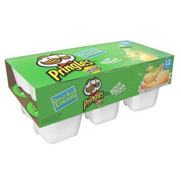 Papas Fritas Pringles Sabor a Crema y Cebolla, 21 g (12 uds)