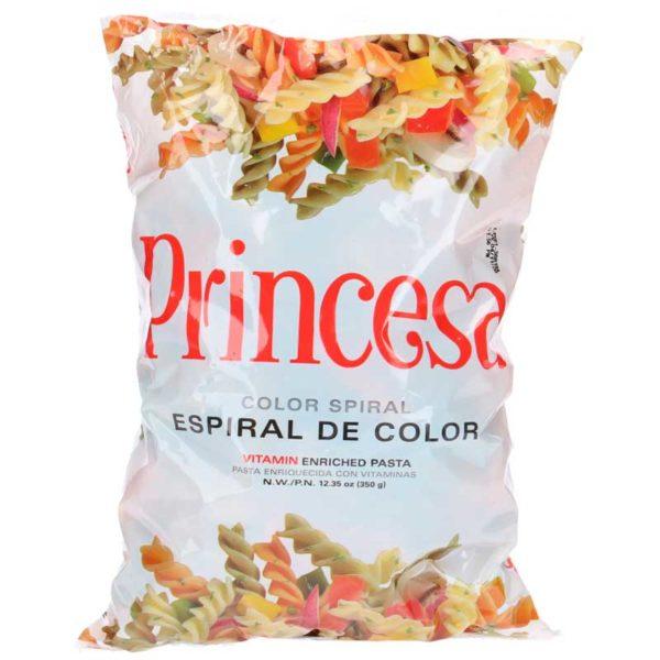 Pasta Princesa Espirales de Colores, 12.35 oz