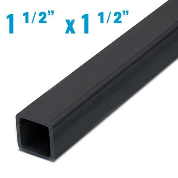 Perfil Cuadrado Negro de 20′ Pies de Largo, 1 1/2″ (1.55 mm grosor metalico)
