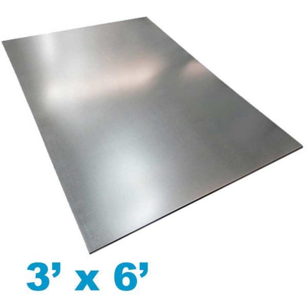 Plancha de Zinc Liso 3' pies ancho x 6' pies largo