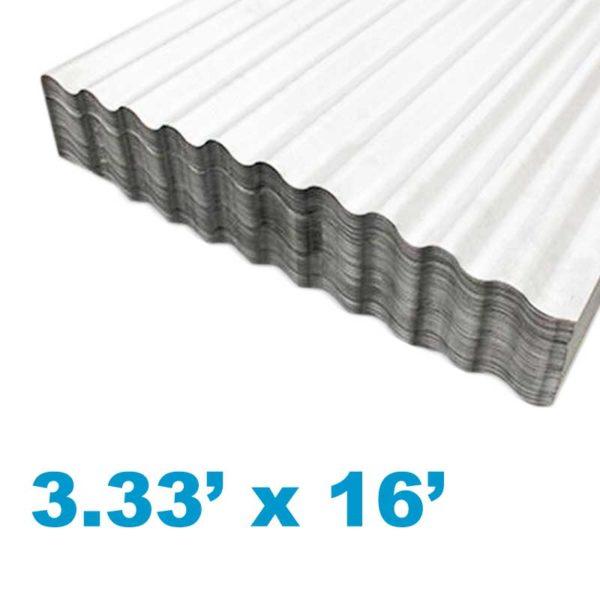 Planchas de Aluzinc Ondulado Calibre 26, (3.33' ancho x 16' largo x 0.51mm grosor)