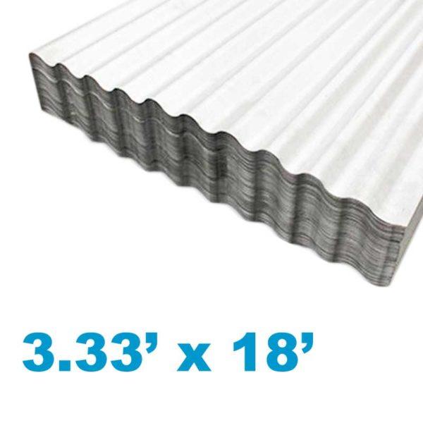 Planchas de Aluzinc Ondulado Calibre 26, (3.33' ancho x 18' largo x 0.51mm grosor)