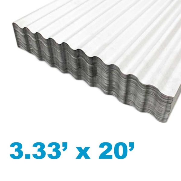 Planchas de Aluzinc Ondulado Calibre 26, (3.33' ancho x 26' largo x 0.51mm grosor)