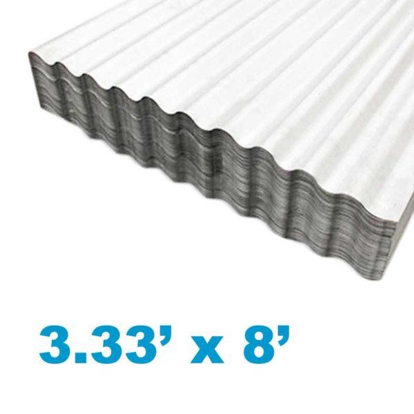 Planchas de Aluzinc Ondulado Calibre 26, (3.33' ancho x 8' largo x 0.51mm grosor)