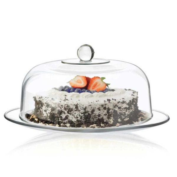 Plato de Cristal + Campana para Pastel Libbey