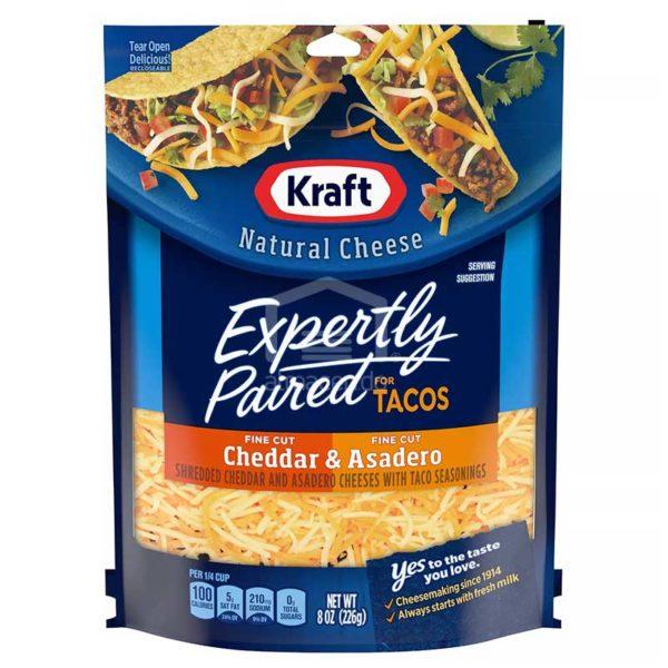 Queso Kraft Rallado para Tacos Cheddar y Asadero, 8 oz