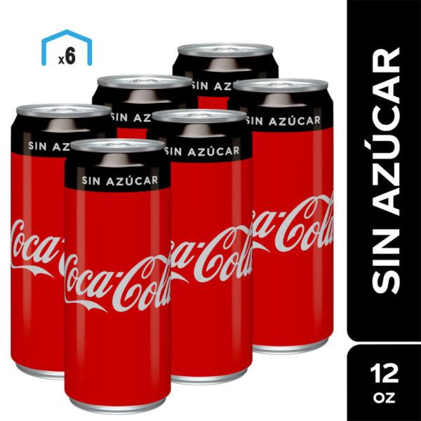 Refresco Coca Cola sin Azúcar, 12 oz Lata (6 pack)