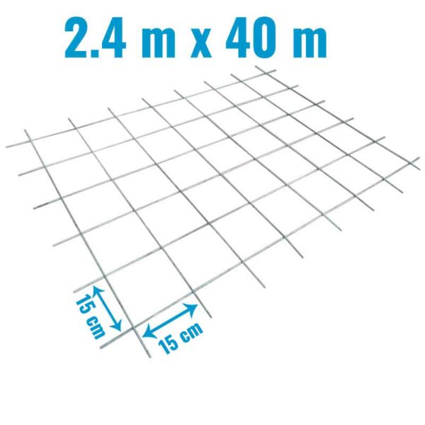 Rollo Malla Electrosoldada 2.4 mts x 40 mts, Grosor del metal 2.3 mm, Separacion 15 cm