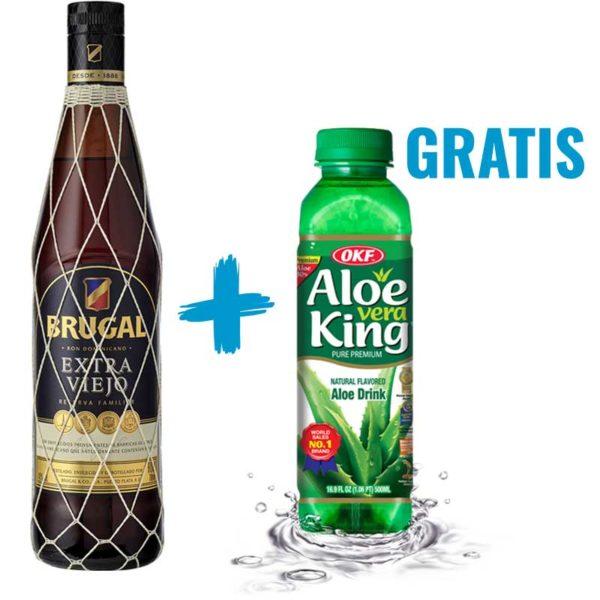 Ron Brugal Extra Viejo Reserva Familiar, 700 ml + Aloe Vera King OKF Original, 500 ml (OFERTA)