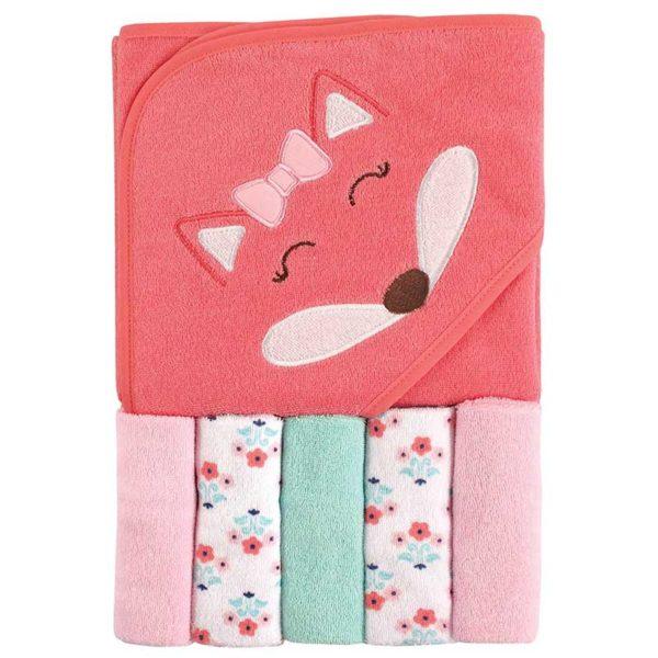 Set de Toalla con Capucha y Toallitas para el Baño Luvable Friends Girl Fox