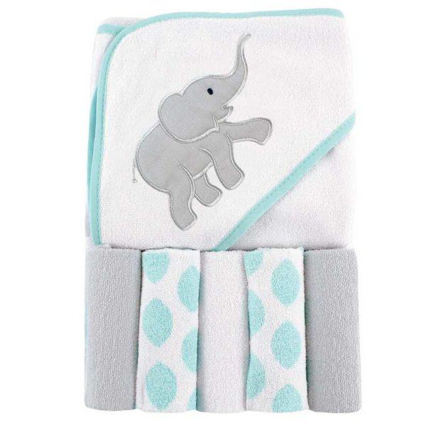 Set de Toalla con Capucha y Toallitas para el Baño Luvable Friends Ikat Elephant