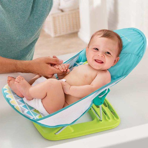 Silla de Baño para Bebés Summer Infant Deluxe Estampado Verde y Azul