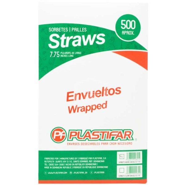 """Sorbetes Plásticos Negros Envueltos 7.75"""" Plastifar, (500 uds)"""