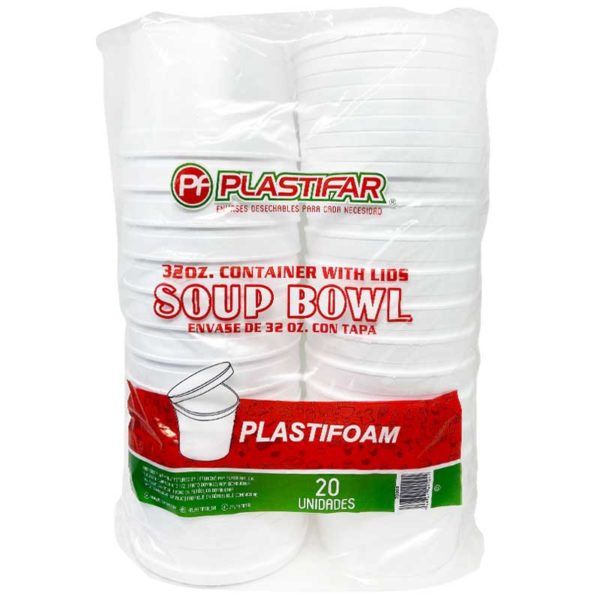 Soup Bowl Foam con Tapa Plastifar, 32 oz (20 uds)