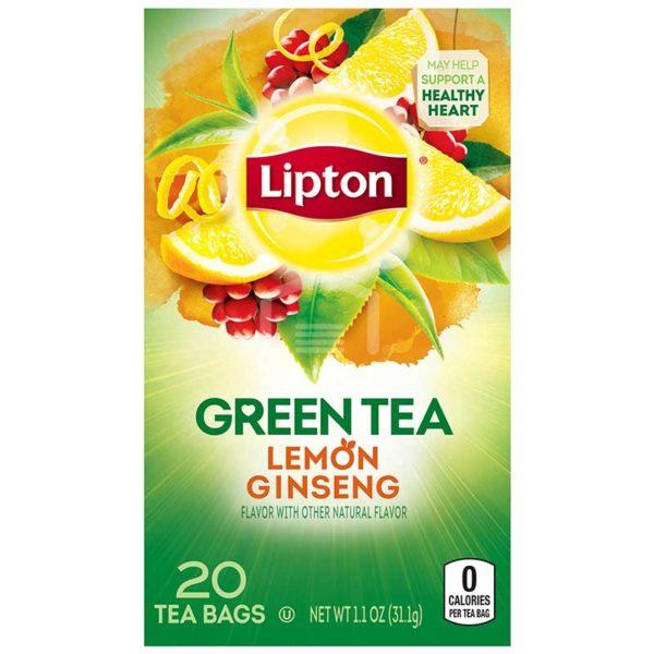 Té Lipton Green Tea Limón y Ginseng, 20 uds