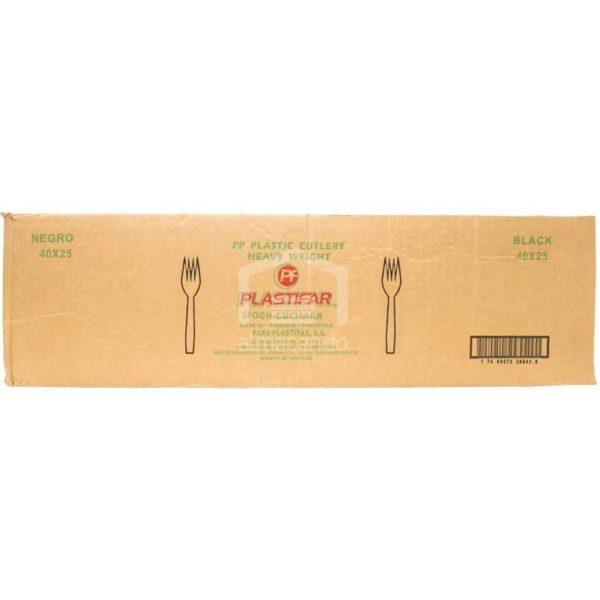 Tenedores Negros Desechables Plásticos Plastifar, Caja (40 × 25 uds)