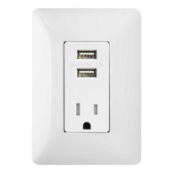 Tomacorriente + 2 USB Bticino MATIX, 15 Amp