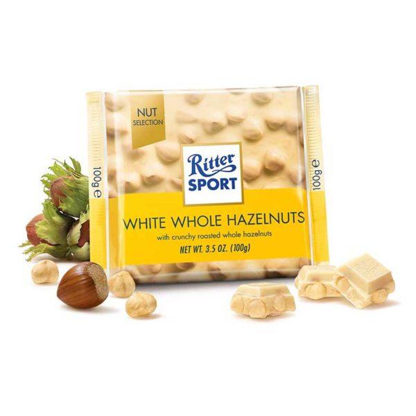 Chocolate Blanco Ritter Sport Avellanas Crujientes, 100 g
