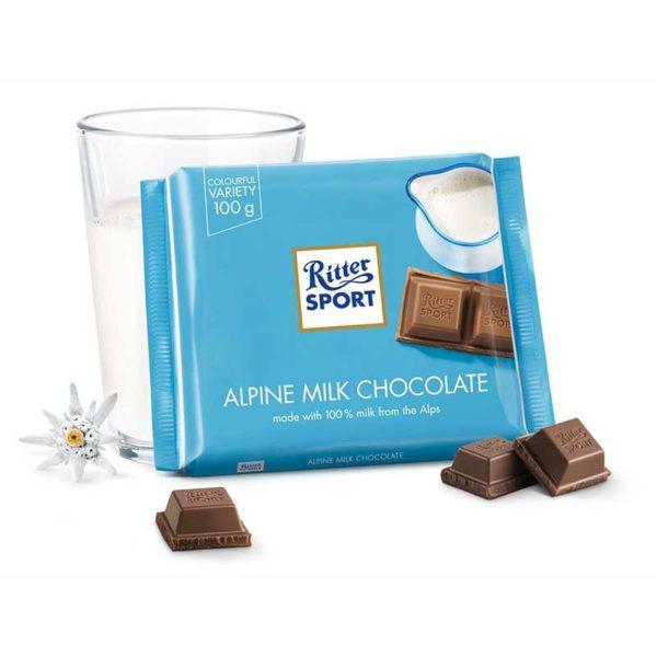 Chocolate Ritter Sport con Leche de los Alpes, 100 g