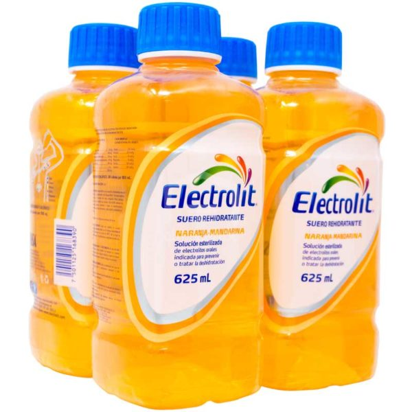Electrolit Suero Rehidratante Sabor Naranja-Mandarina, 625 ml (4 pack)