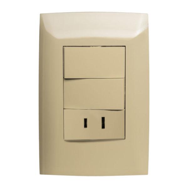 Interruptor Doble con Tomacorriente Leviton CIEN, 15 Amp